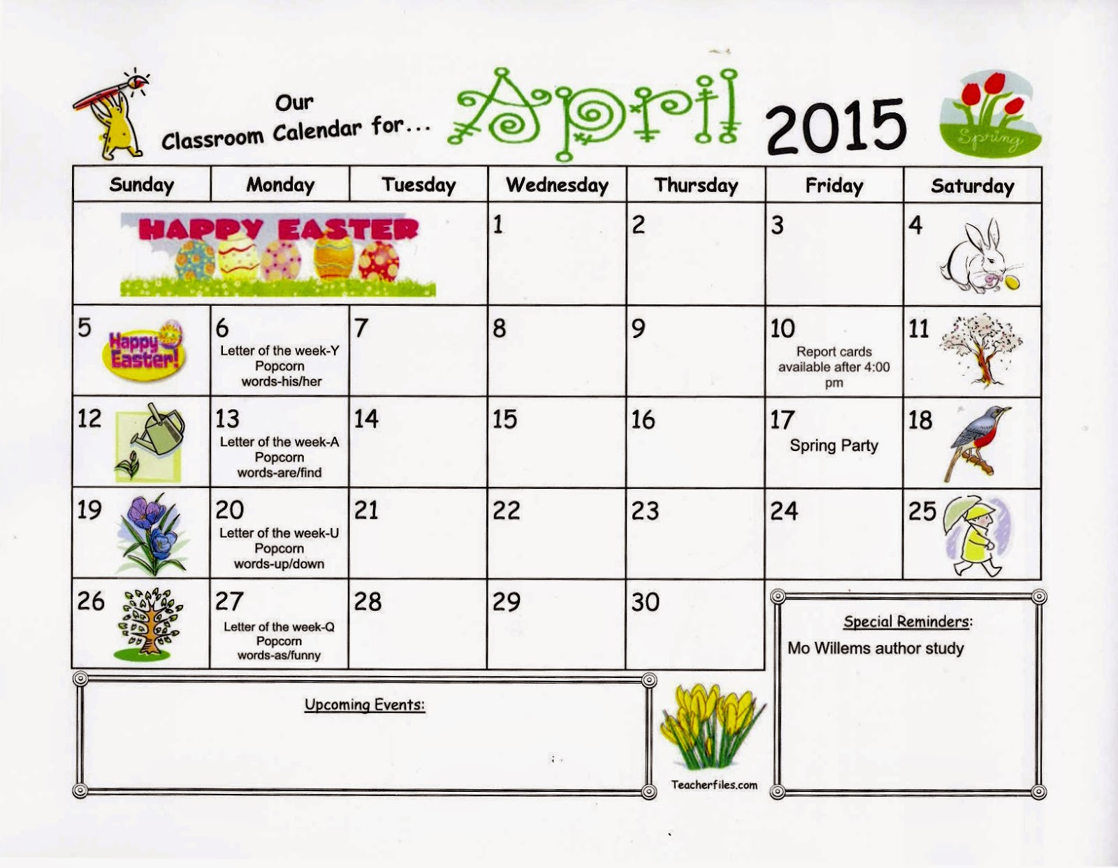 Working And Learning In Kindergarten April Calendar